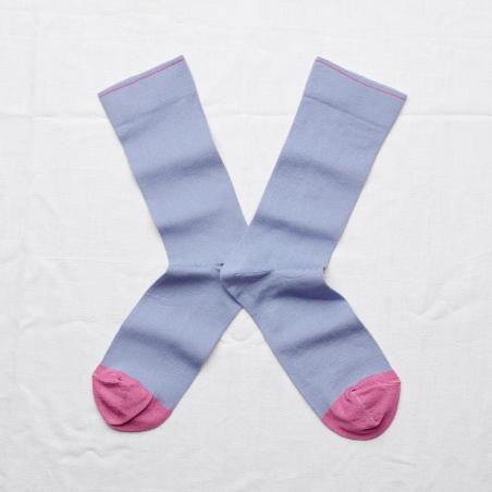 chaussettes - bonne maison -  uni bel air - bleu - femme - homme - mixte