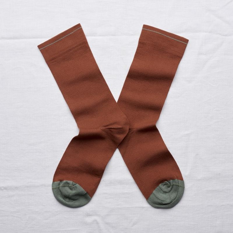 socks - bonne maison -  Plain - Sepia - women - men - mixed