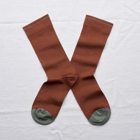 chaussettes - bonne maison -  uni sépia - marron - femme - homme - mixte