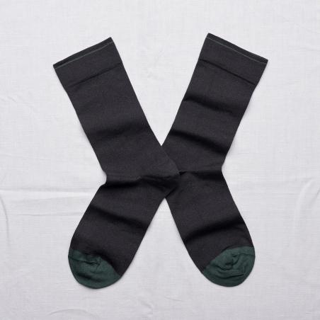 chaussettes - bonne maison -  uni faux noir - noir - femme - homme - mixte