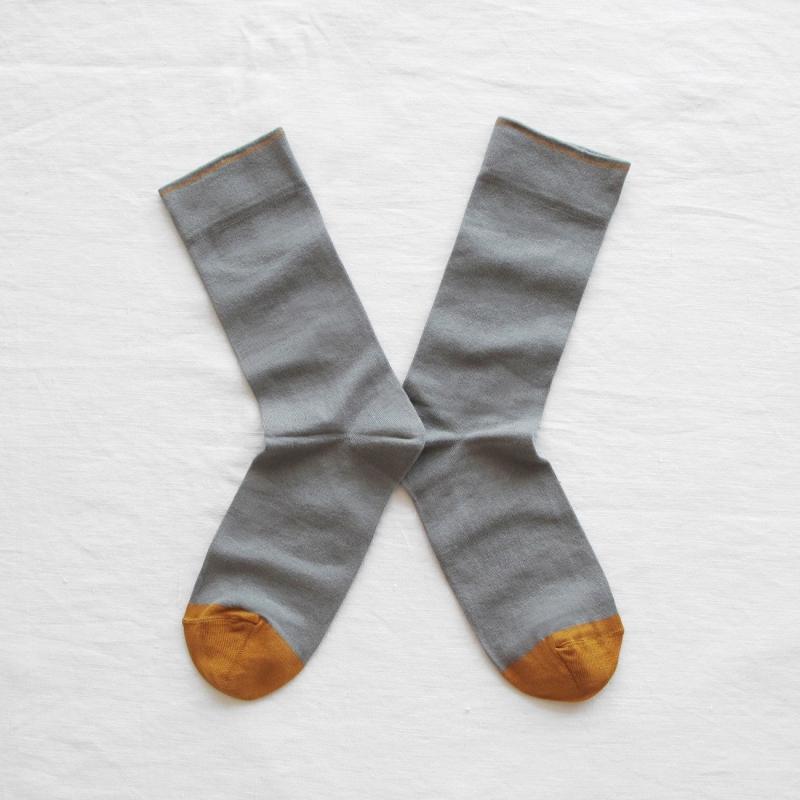 chaussettes - bonne maison -  uni éléphant - gris - femme - homme - mixte