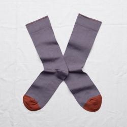 chaussettes - bonne maison -  uni nocturne - violet - femme - homme - mixte