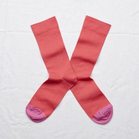 chaussettes - bonne maison -  uni rouge fané - rouge - femme - homme - mixte