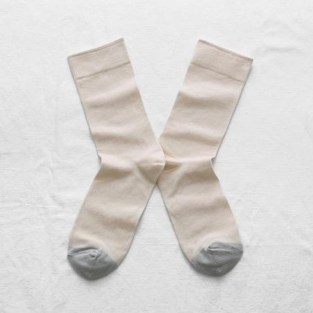 chaussettes - bonne maison -  uni naturel - blanc - femme - homme - mixte