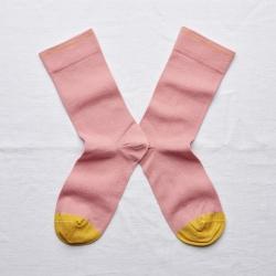 chaussettes - bonne maison -  uni rose pêche - rose - femme - homme - mixte