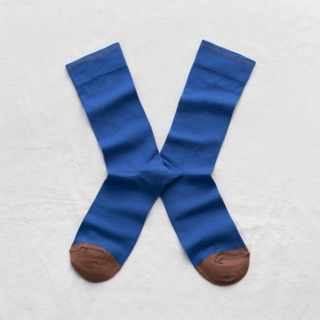 chaussettes - bonne maison -  uni cobalt - bleu - femme - homme - mixte