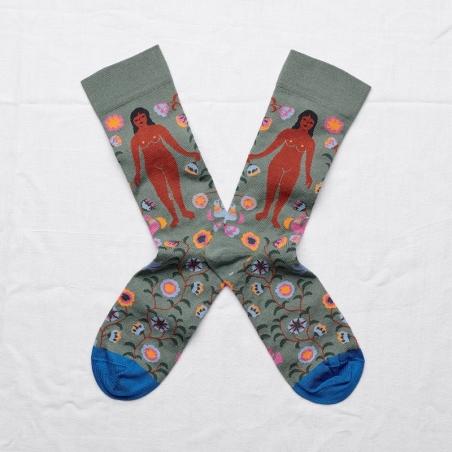 chaussettes - bonne maison -  femme cèdre - vert - femme - homme - mixte