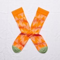 chaussettes - bonne maison -  losange zeste - orange - femme - homme - mixte