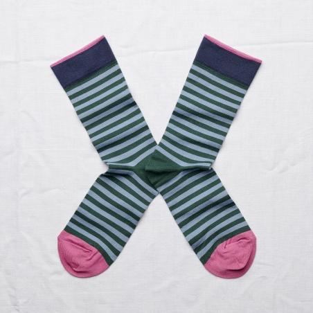 chaussettes - bonne maison -  rayure bel air - bleu - femme - homme - mixte