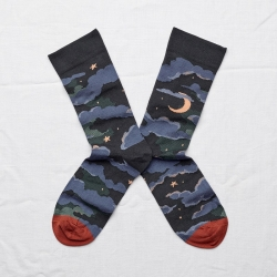 chaussettes - bonne maison -  lune nuit - bleu - femme - homme - mixte