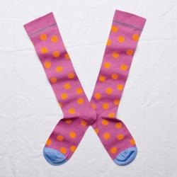 chaussettes - bonne maison -  pois orchidée - rose - femme - homme - mixte