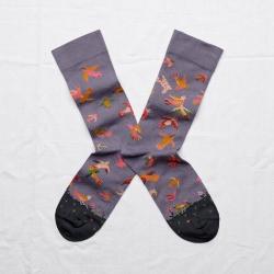 chaussettes - bonne maison -  oiseaux nocturne - violet - femme - homme - mixte