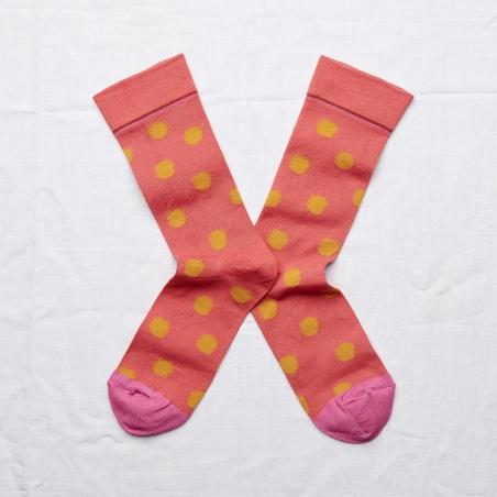 chaussettes - bonne maison -  pois rouge fané - rouge - femme - homme - mixte