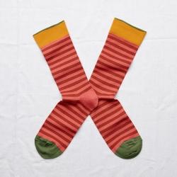 chaussettes - bonne maison -  rayure rouge fané - rouge - femme - homme - mixte