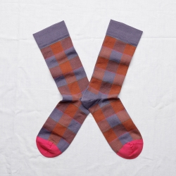 chaussettes - bonne maison -  carreaux nocturne - violet - femme - homme - mixte