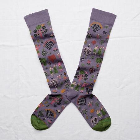 chaussettes - bonne maison -  pays nocturne - violet - femme - homme - mixte