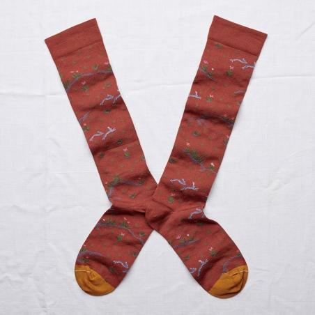 chaussettes - bonne maison -  lièvre sépia - marron - femme - homme - mixte