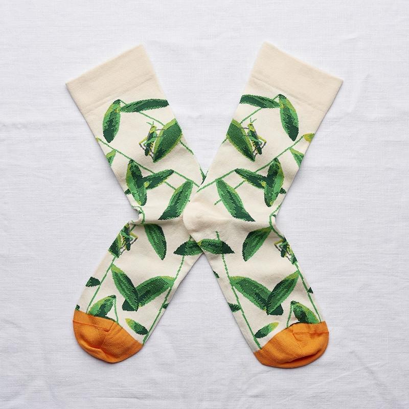 chaussettes - bonne maison -  sauterelle naturel - blanc - femme - homme - mixte
