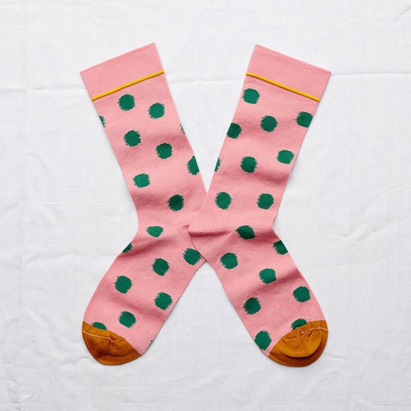 chaussettes - bonne maison -  pois rose pêche - rose - femme - homme - mixte