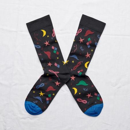 chaussettes - bonne maison -  carnaval nuit - bleu - femme - homme - mixte