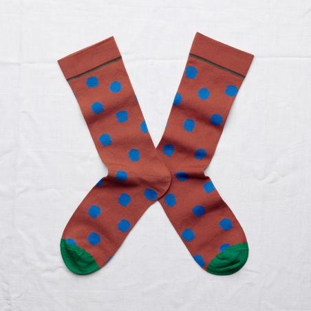 chaussettes - bonne maison -  pois sépia - marron - femme - homme - mixte