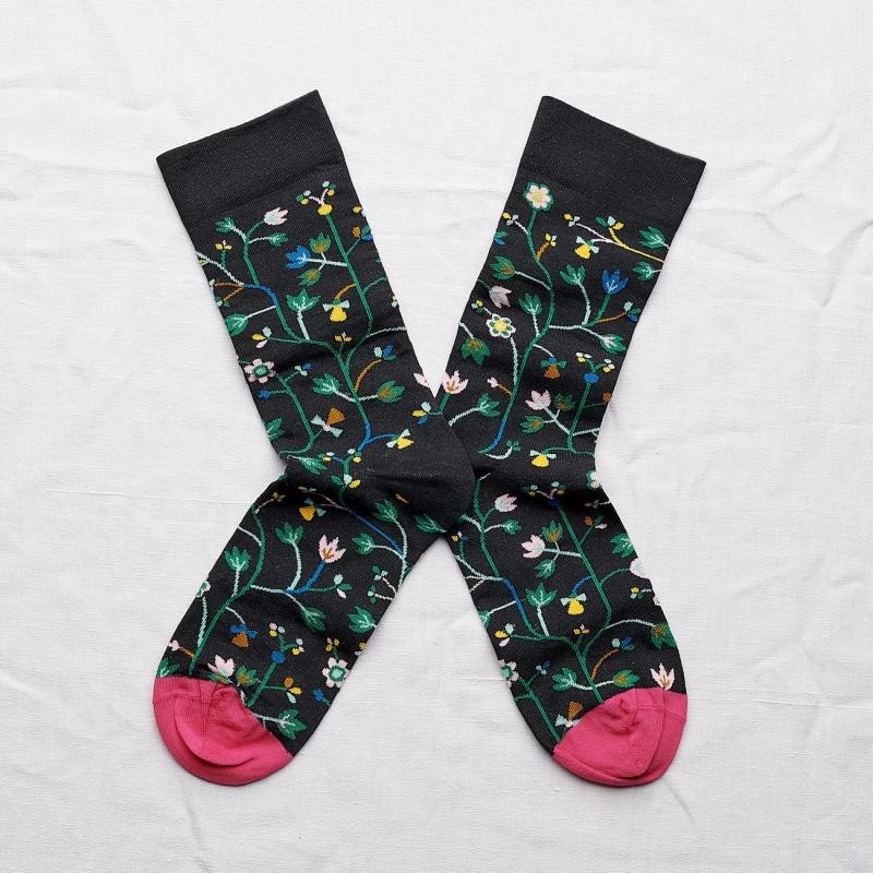 chaussettes - bonne maison -  fleurs faux noir - noir - femme - homme - mixte