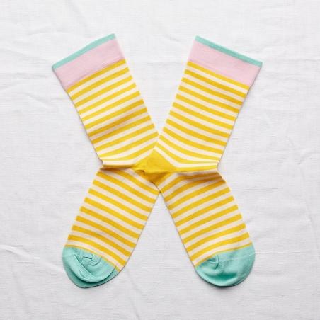 chaussettes - bonne maison -  rayure mimosa - jaune - femme - homme - mixte