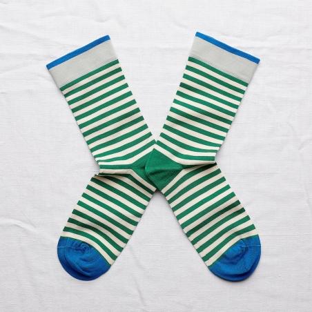chaussettes - bonne maison -  rayure émeraude - vert - femme - homme - mixte