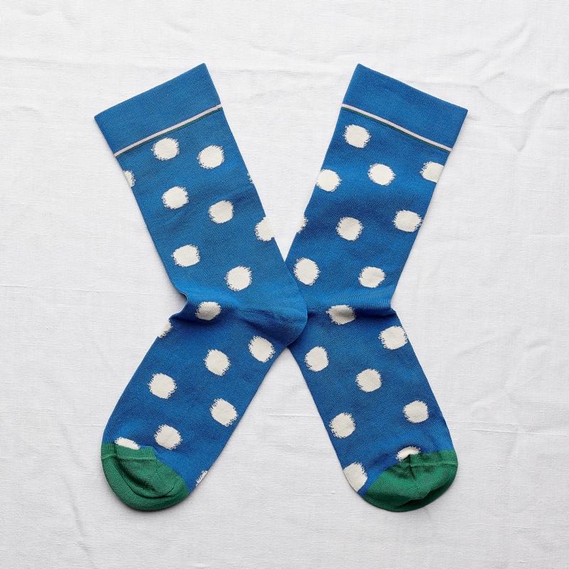 chaussettes - bonne maison -  pois cobalt - bleu - femme - homme - mixte