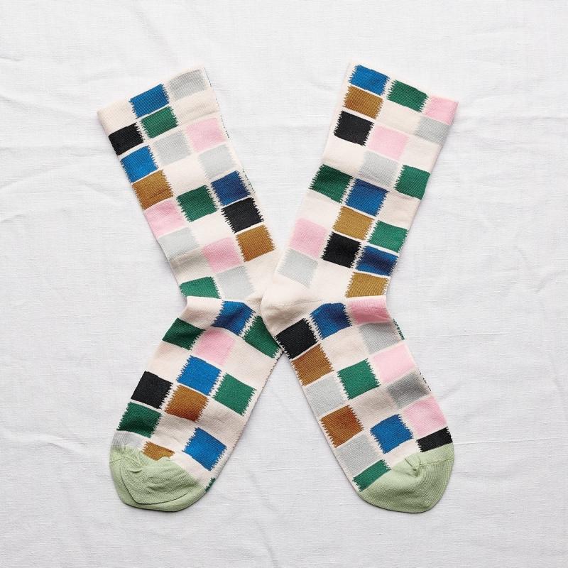 chaussettes - bonne maison -  carreaux multico - multicolore - femme - homme - mixte