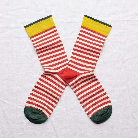 chaussettes - bonne maison -  rayure sanguine - rouge - femme - homme - mixte