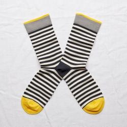 chaussettes - bonne maison -  rayure nuit - bleu - femme - homme - mixte
