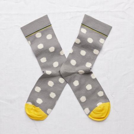 chaussettes - bonne maison -  pois éléphant - gris - femme - homme - mixte