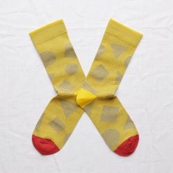 chaussettes - bonne maison -  reflets mimosa - jaune - femme - homme - mixte