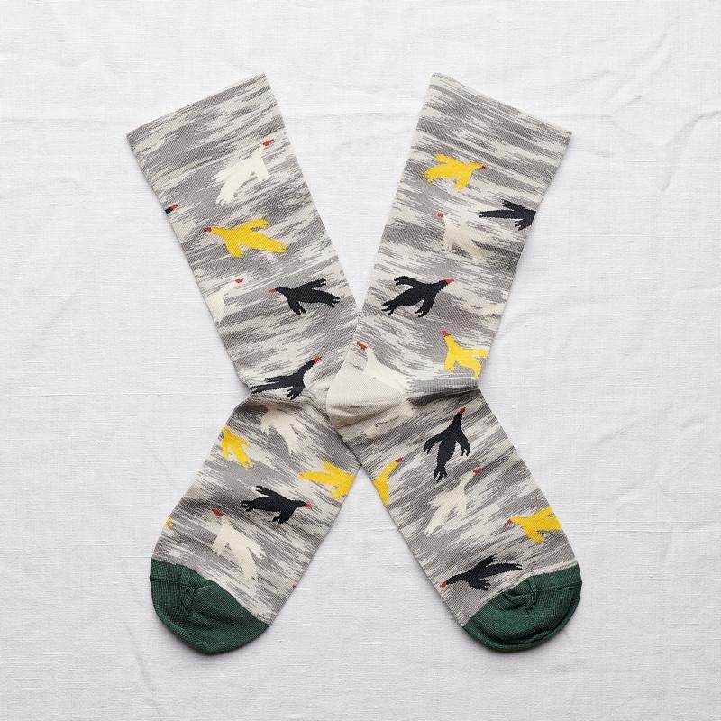 chaussettes - bonne maison -  oiseaux mimosa - gris - femme - homme - mixte