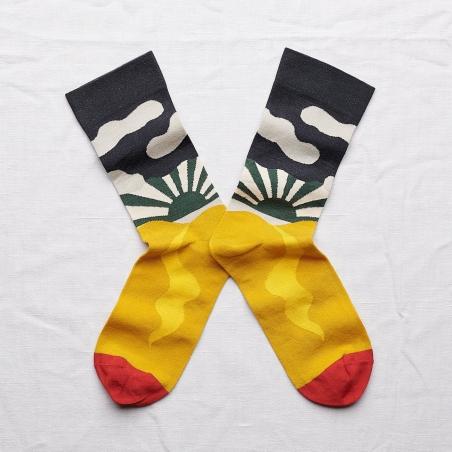 chaussettes - bonne maison -  paysage éléphant - jaune - femme - homme - mixte