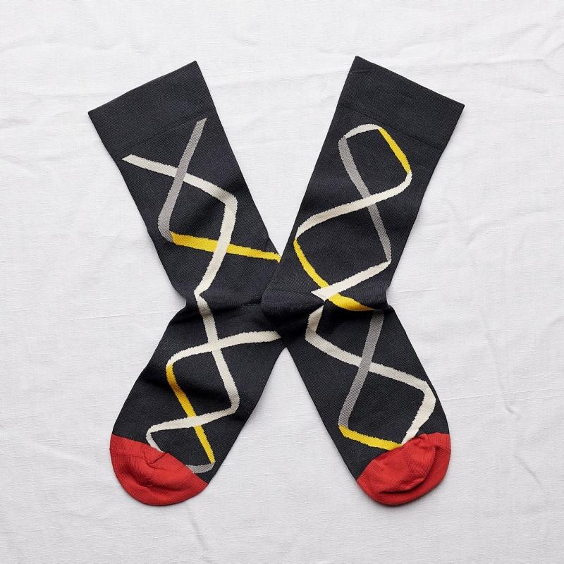 chaussettes - bonne maison -  ruban faux noir - noir - femme - homme - mixte