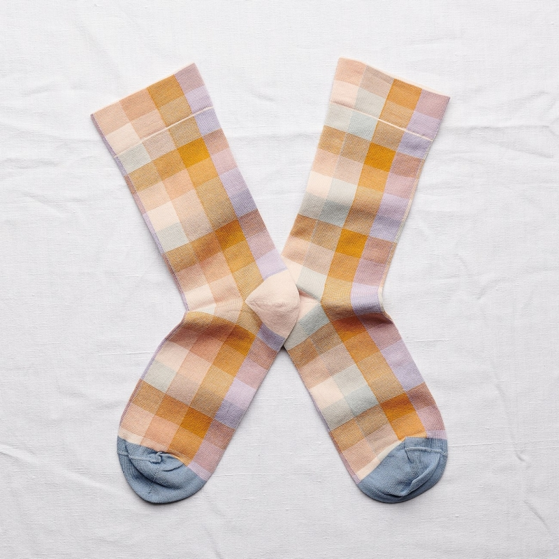 chaussettes - bonne maison -  carreaux miel - jaune - femme - homme - mixte