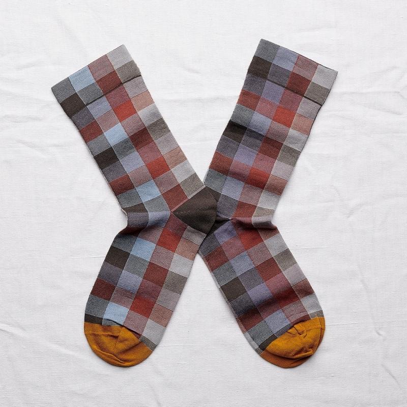 chaussettes - bonne maison -  carreaux orage - bleu - femme - homme - mixte