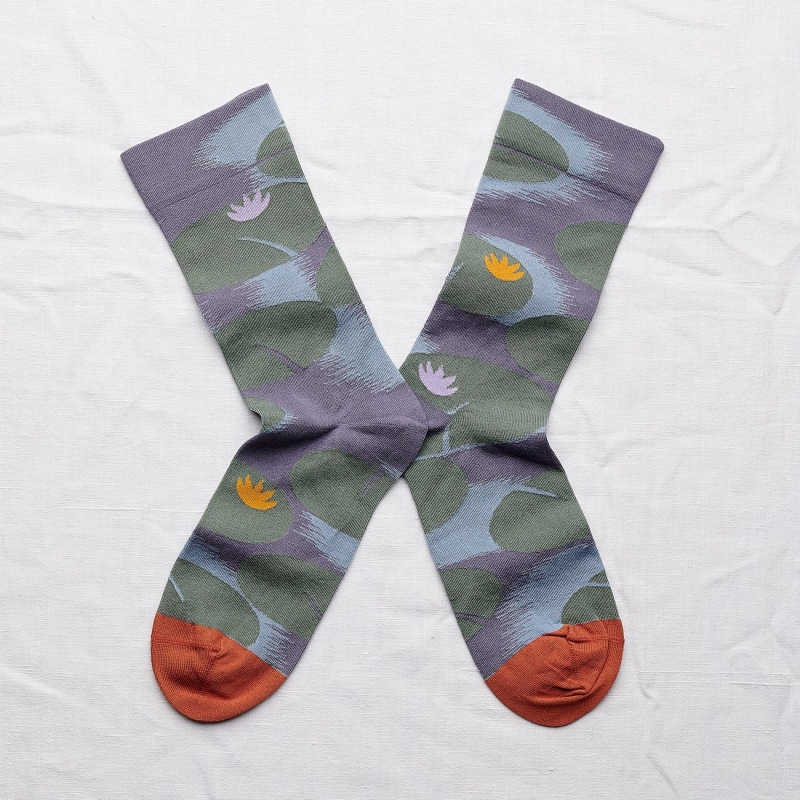 chaussettes - bonne maison -  nénuphar orage - bleu - femme - homme - mixte