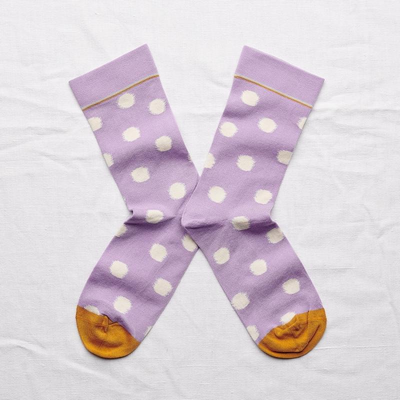 chaussettes - bonne maison -  pois violette - violet - femme - homme - mixte
