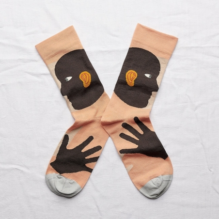 chaussettes - bonne maison -  oreille adobe - orange - femme - homme - mixte