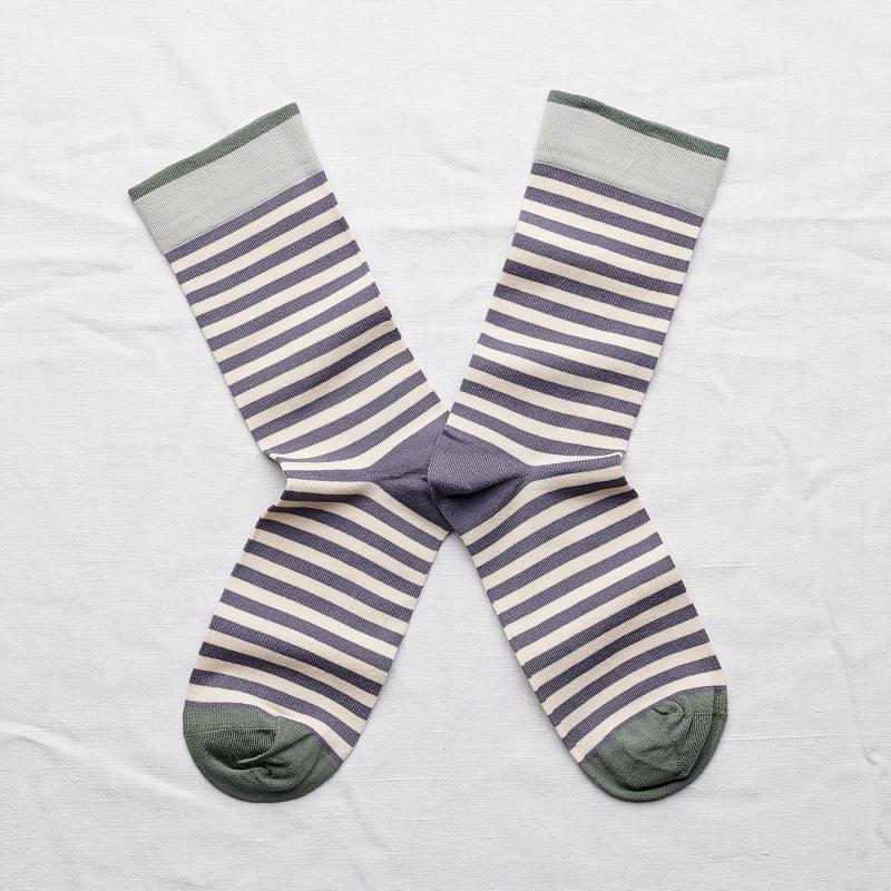 chaussettes - bonne maison -  rayure nocturne - violet - femme - homme - mixte
