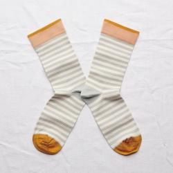 chaussettes - bonne maison -  rayure céladon - vert - femme - homme - mixte