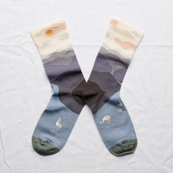 chaussettes - bonne maison -  montagnes nocturne - violet - femme - homme - mixte
