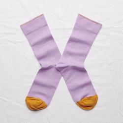 chaussettes - bonne maison -  uni violette - violet - femme - homme - mixte