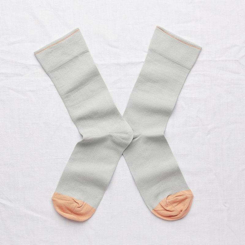 chaussettes - bonne maison -  uni céladon - vert - femme - homme - mixte