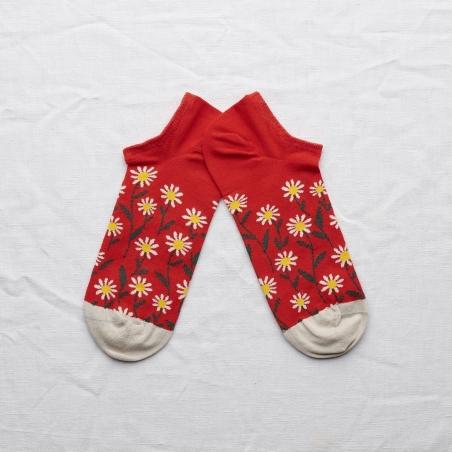 chaussettes - bonne maison -  marguerite sanguine - rouge - femme - homme - mixte