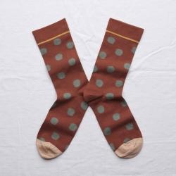 chaussettes - bonne maison -  Pois - Sépia - femme - homme - mixte