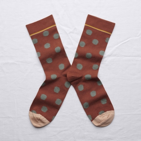 socks - bonne maison -  Polka Dot - Sepia - women - men - mixed